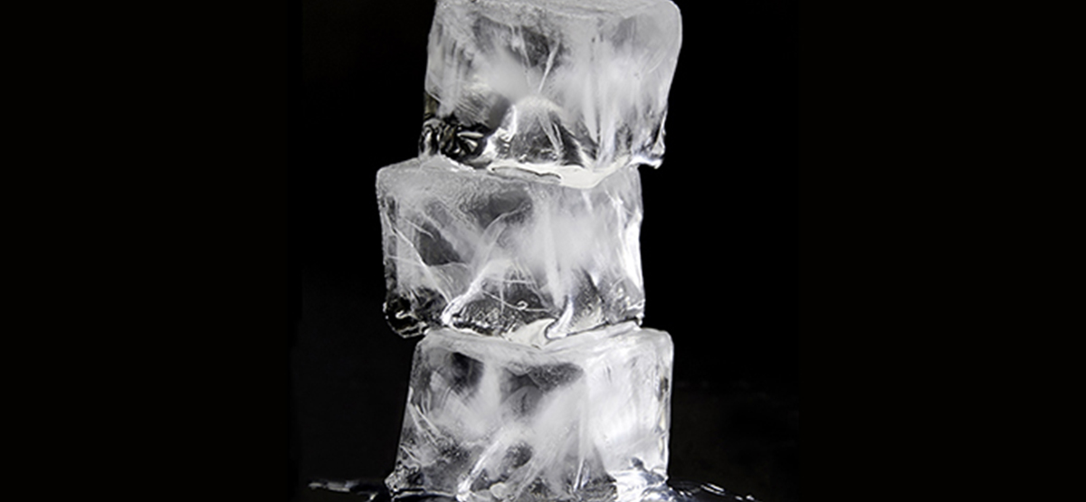 three pieces of ice stacked on top of each other