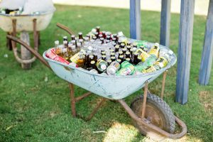 wheelbarrow full of ice and beer