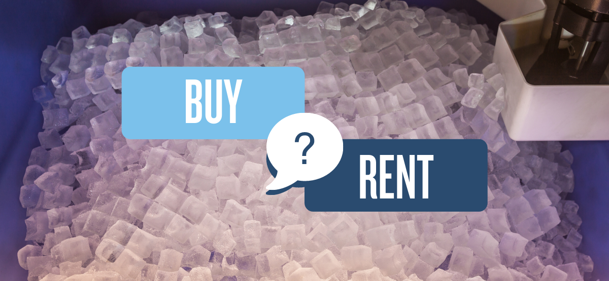 Buy or Rent graphic over ice machine
