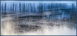 Frozen pond reflecting light